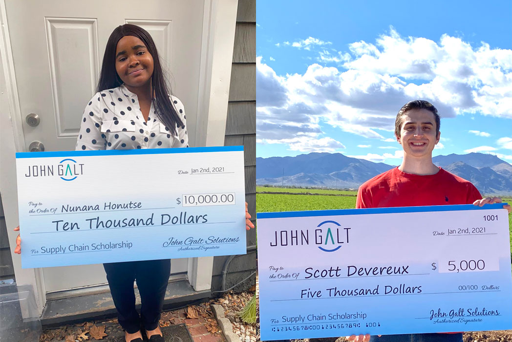 Nunana Honutse of the Rider University and Scott M. Devereux of the Arizona University, Scholarship winners